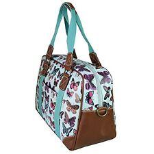 Miss Lulu Women's Oilcloth Travel Bag Butterfly Design (Light Blue L1106B LBE)