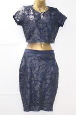 Lipsy Michelle Keegan Embroidered Applique Top Pencil Skirt 10 Co Ord Navy Lace