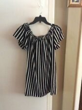 French Connection Striped Crepe Light Off The Shoulder Dress, Size XS, Reg.$118