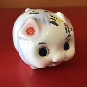 Vintage Happy Piggy Bank Ceramic Pig Taiwan NEVADA Imperfect Piglet Cute Flowers