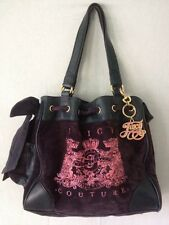 Blue Pink Juicy Couture Shopper Tote Leather Velvet Handbag