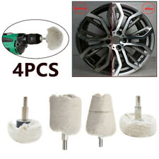 4 Pcs White Cotton Pad Polishing Buffing Wheel Rims Car Motorcycle Kit For Drill