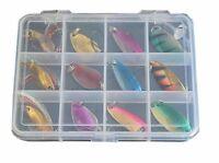 12pcs box colorful spoon fishing lure metal kit hooks