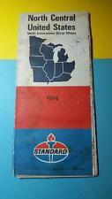 RARE VINTAGE 1974 STANDARD GAS & OIL SERVICE ROAD MAP SOUVENIR NORTH CENTRAL US
