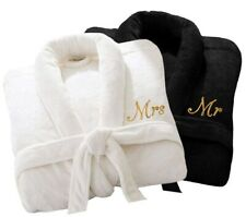 2 x Personalised Bath Robe Mr Mrs Terry Towel Bathrobes Anniversary Wedding Gift