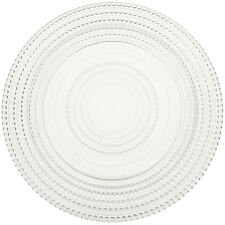Prime Dinnerware Beaded Rings 11 Inch with Rim Glass Charger Plate Set of 2
