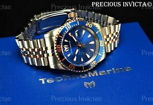 ➤TechnoMarine Men's 42mm MANTA SEA JUBILEE Blue Dial Two Tone Bracelet SS Watch
