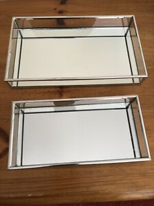 2 Rectangular Mirror Trays Vanity Perfume Makeup Candle Sealed Pack
