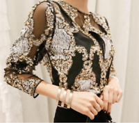 Fashion Womens Glitter Sequin Mesh Korean Chic Tops Blouse Long Sleeve Bead Sexy