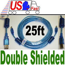25 Feet USB 2.0 Type A Male to Type B Male Printer Scanner Cable FERRITE CORES!
