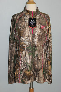 New REALTREE Xtra Ladies Qtr Zip Top Camo Pink S M L XL 2XL Womens Hunting Shirt