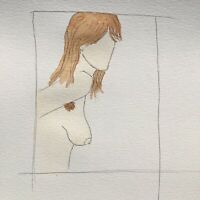 Matt Scalf Nude Woman Hairy Female ORIGINAL PAINTING Naked Girl Watercolor 9x12