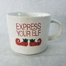 Crate and Barrel Express Your Elf Coffee Mug Red Christmas Shoes BOOTS 14 Oz Cup