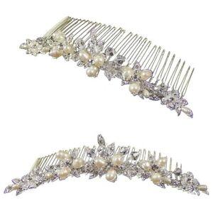Hannah Pearl Flower Wedding Comb Tiara (Silver) (e2042hs)