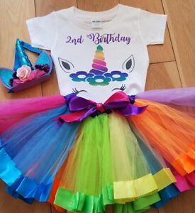 Unicorn Birthday Outfit  Rainbow Tutu Girls Headband 1st 2nd 3rd 4th 5th 6th