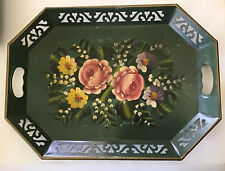 VINTAGE FRENCH TOLE TRAY GREEN HAND PAINTED FLOWERS DESIGN METAL SERVING COTTAGE