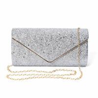 Silver Polyester Fashion Envelope Clutch Bag Handbag Shoulder Chain for Women