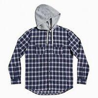 Quiksilver Mens Shirt Gray Blue Size Medium M Button Down Plaid Hoodie $70 199