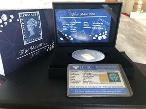 5 Cedis Ghana 2020 - 1 OZ Blaue Mauritius 2020 - mit 4 Diamanten