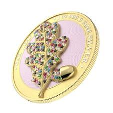 Germania 2019 5 Mark - Bejeweled Oak Leaf - Yellow - 1 Oz Silver Coin