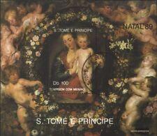 Sao Tome e príncipe Bloque 222 (edición completa) usado 1989 Navidad
