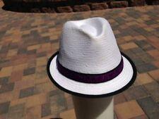 Robert Graham White Straw Stingy Brim Trilby Fedora Hat, Size Large
