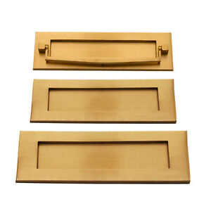 Victorian Heavy Sprung Solid Brass Letter Box Postal Plate Covers - Satin Brass