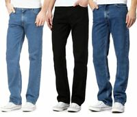 Mens Fancy Straight Leg Regular Denim Jeans Adults Heavy Duty Plain Casual Pants