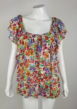 The Garden Collection by H&M Floral Watercolor Boho Flutter Sleeve Top Sz 10 EUC