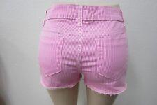 NWT Hot Kiss Cici  Pink & White Striped Denim Shorts Cut Off Hems Size 15