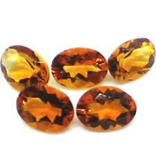 NATURAL OVAL-CUT GOLDEN YELLOW CITRINE UNHEATED CLEAN LOOSE GEMSTONES 7PCS