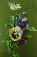 A Token Of Love Pansies Flower Posted Divided Back Vintage Postcard