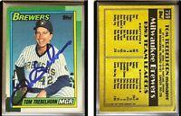 Tom Trebelhorn Signed 1990 Topps #759 Card Milwaukee Brewers Auto Autograph