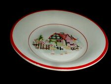Crooksville China Red Trim PETIT POINT HOUSE Dessert Bowl (loc-D46)
