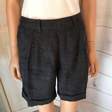 Brora Linen Shorts Size 8UK Blue & Grey Small Check Print Casual Pockets Good