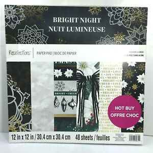 Recollections Paper Pad 12x12 Christmas Bright Night Scrapbook 48 Sheets Holiday