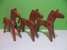 PLAYMOBIL – 3 chevaux marron brun / Horse / 3028 3666 3668 3785