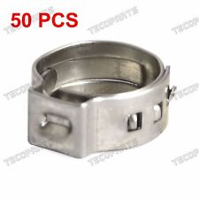 """50 Packed 3/8"""" PEX Stainless Steel Clamp Cinch Ring Crimp Pinch Fitting Tubing"""