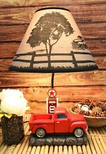 Vintage Big Red Pickup Truck By Classic Old Gas Pump Desktop Table Lamp Decor