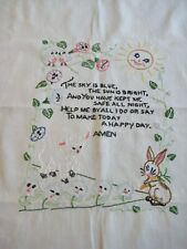 New listing Baby Nursery Sampler Vintage Hand embroidered finished for pillow or frame