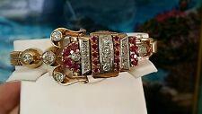 Vintage Retro 5.00ct Ruby and Round European Diamond Bracelet Watch