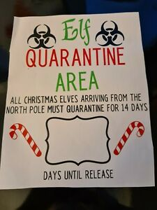 Naughty  elf quarantine area christmas vinly decals stickers  fun children candy