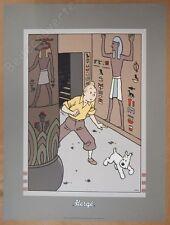 Sérigraphie Rare HERGE Tintin Les cigares du Pharaon 50x70