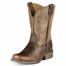 CHILDREN'S/YOUTH ARIAT BROWN EARTH SQUARE TOE RAMBLER WESTERN BOOTS 10007602
