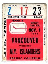 1X VANCOUVER CANUCKS Ticket Stub vs NY ISLANDERS Nov 1st 1976 RARE
