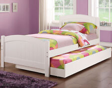 NEW ASBURY WHITE FINISH WOOD TWIN SIZE BED w/ TWIN UNDER BED TRUNDLE