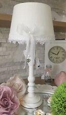 Tischlampe Lampenschirm Shabby Chic Landhaus Stoff Weiss Schleife Vintage Top