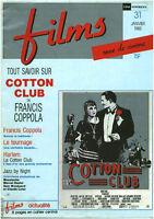 Revue ancienne films ciné critiques Cotton Club Janvier 1985