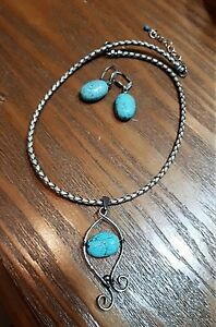 Necklace and earrings  turquoise w/leather cord  set