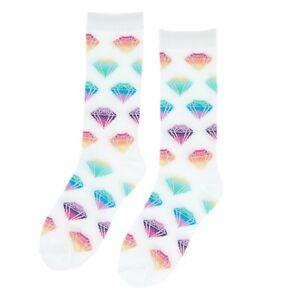 Glitter Diamond Crew Socks White with Rainbow Diamonds Shoe Size 9-11